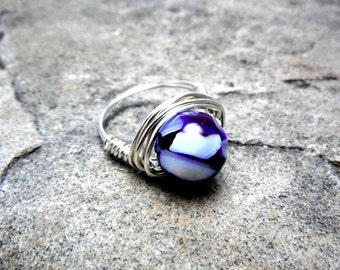 Purple Shell Ring, Mother of Pearl Ring, Wire Wrapped Ring, Purple Ring, Wire Wrapped Ring, Wire Wrapped Jewelry Handmade, Purple Pearl Ring