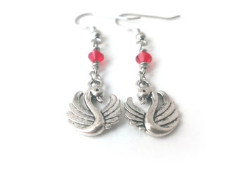 Red Swan Earrings, Swan Dangle Earrings, Swarovski Crystal Swan Earrings, Swan Jewelry - Available as Hypoallergenic and Clip-on Earrings