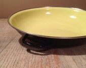 Yellow Enamelware Mid Century Modern Flat Cookware - Yugoslavia 20 Double Handle - PackandAlleys