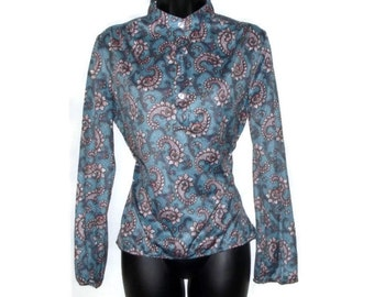 Vintage 70s blue and pink paisley blouse