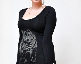 Black Long Sleeve, Wolf Print Dress, Body Con Dress, Black Body Con, Long Black Top, Wolf Print Top, Little Black Dress