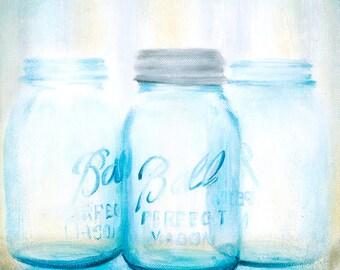 "Mason Jars Painting,10""x10"",Giclee Print,""Ball Jars #1"", square painting, small painting, farmhouse decor, vintage decor,"