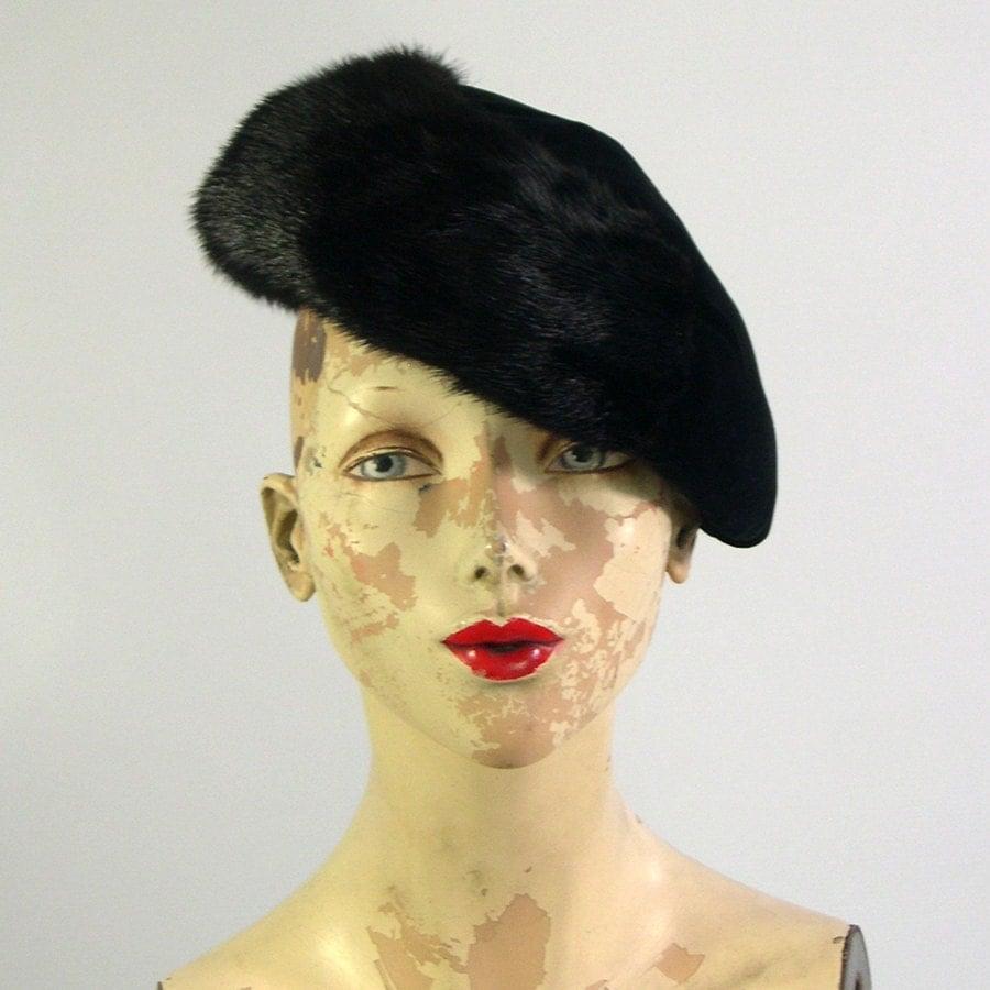 Vintage Black Fur Hat by Stephen Jones 1980s