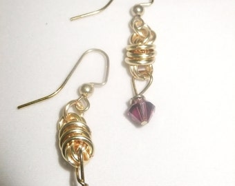 Gold Coil Drop Earrings with Purple Crystals