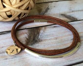 Triple Wrap Dark Tan Leather Bracelet,Leather Initial Bracelet,Custom Bracelet, Best Friend Bracelet,Leather Bangle,Women's Leather Bracelet