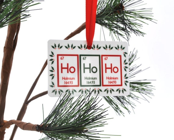 Ho Ho Ho Periodic Table Christmas Ornament Science Chemistry Geek