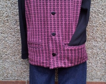 Mens burgundy & black vintage 1950s 50s cardigan sweater, made from an original pattern.
