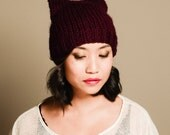 Square chunky knit beanie