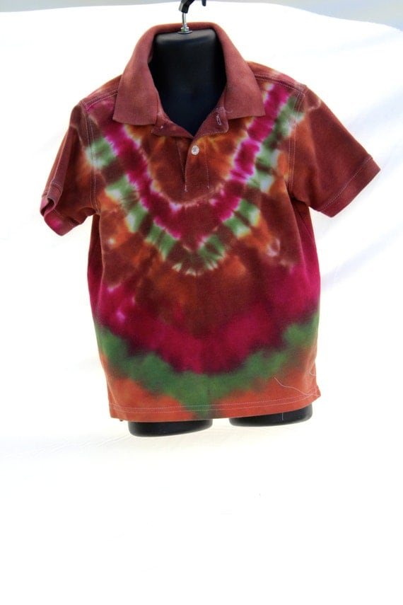 tie dye upcycled childrens xs polo shirt