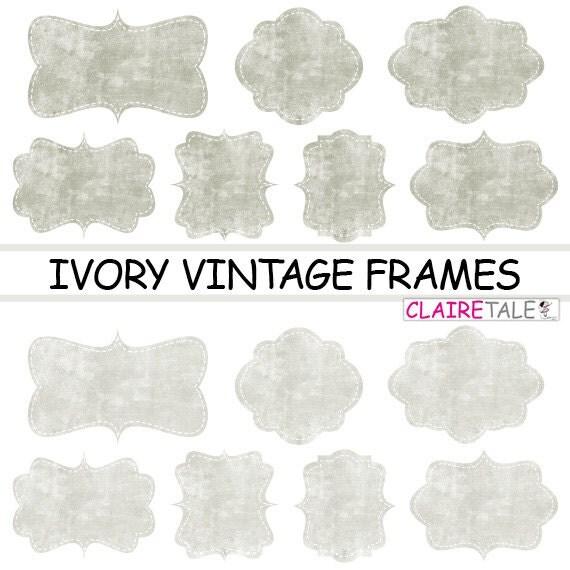 """Digital clipart labels: """"IVORY VINTAGE FRAMES"""" grunge clipart frames, labels, tags on vintage ivory background"""