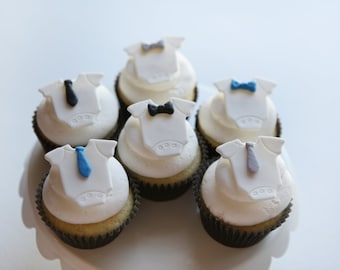 Little Man Baby Shower Cupcake Toppers | Fondant