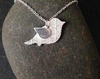 Birds of a feather silver necklace, silver bird necklace, silver feather necklace, sterling silver chain