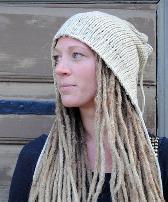 Knitting Pattern For Dreadlock Hat : Beige knitted hooded dreadlock hat by Dreadstuffs on Etsy