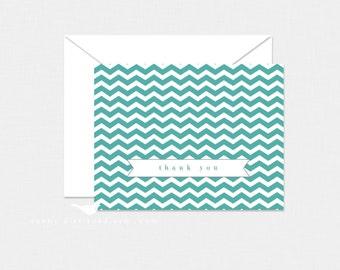 Aqua Chevron Thank You Cards - Set of 4