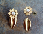 2 piece Vintage Pearl and Gold Embossed Flower Pierced Earrings - Free Shipping