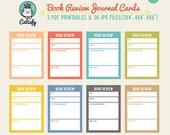 Book Review Journal Card Printables for Pocket Scrapbooking and Project Life