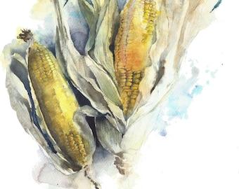 """Sale 40% off Was 90.00 Original watercolor painitng corn 11x15"""", kitchen decor"""