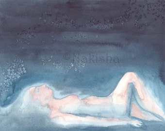 Seeing Stars After Skinny Dipping at Night - Original Watercolor Nude Painting - Mature