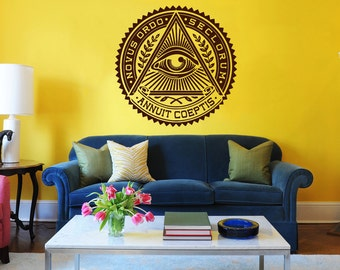 All Seeing Eye Wall Decal Illuminati Eye Annuit Coeptis Wall Decals Vinyl Sticker Interior Home Decor Vinyl Art Wall Decor Bedroom SV5840