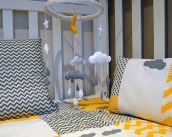 Baby Crib Mobile - Nursery Mobile - Rainy Cloud Mobile - White / Grey / Yellow