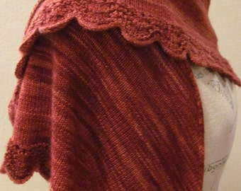 OOAK Hand Knit Shawl, Kettle Dyed Superwashed Merino Wool