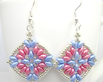 Pink and blue super duo earrings, baby pink earrings, baby blue earrings, superduo earrings, ER006