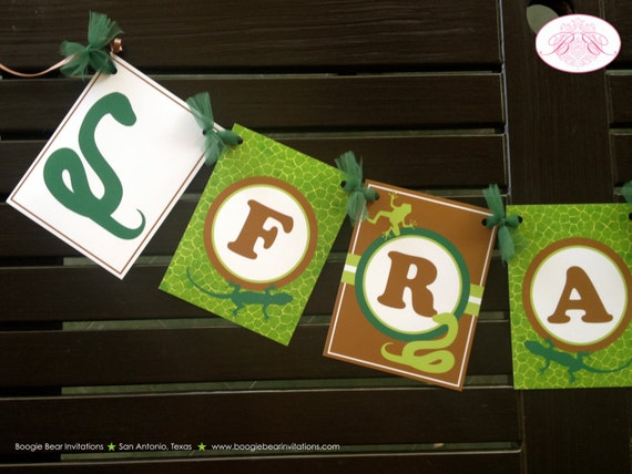 Reptile Birthday Party Name Banner Snake Frog Boy Rainforest
