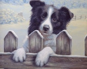 Border Collie Limited Edition Print.  Ready for work.  Personally signed and numbered by Award Winning Artist JOHN SILVER jsfa085
