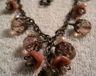 Romance, Vintaj Brass, Freshwater Pearls, Czech Glass Beads and Flowers Vintage Look Necklace