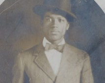 Dapper 1910's Young Handsome African American Black Man Real Photo Postcard