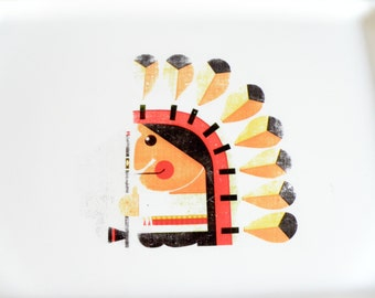 60s to 70s tray decorated with an American Indian drawing 1960s 1970s