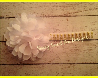 White Chiffon Puff on White with Gold Pineapple Headband..Pineapple Headband..Baby Hair Bow,...Photo Prop Bow, Baby Shower