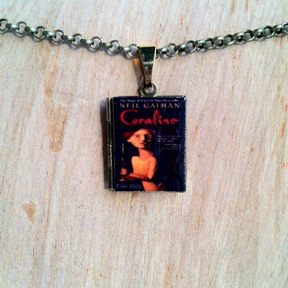 Coraline Neil Gaiman Literary Locket Book By MalteseMagpie