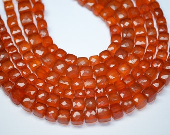 "AAA 8"" Strand-7-8mm-Tangerine Orange Chalcedony Faceted 3d Cube Briolette"