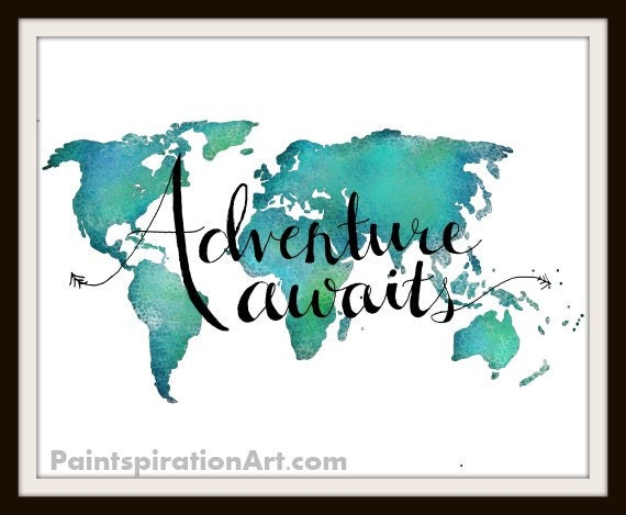 Travel Art Print World Map Art Print Adventure Art Travel