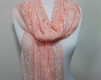 Peach Scarf Shawl Bridal Accessories Bridesmaids Gifts Tulle Cowl Mothers Day Gift Women Fashion Accessories Peach Wedding Gift For Her
