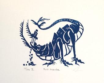 Rust Monster Linocut