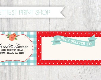 Printable wrap around address label - Picnic party - Cabbage roses - Gingham - Polka dot - Customizable