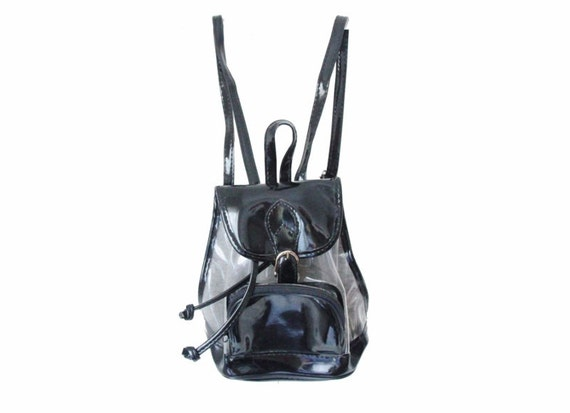90s Mini Backpack Clear Amp Black Patent Plastic See Through
