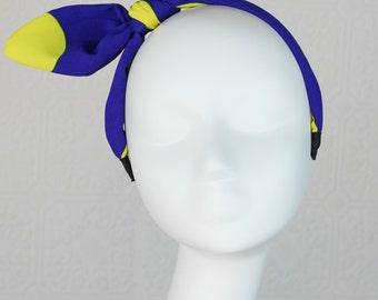 Large Bow Headband: Rabbit Ear Headband - Blue Yellow Headband - Polka Dot Headband - Chiffon Headband - Cute Headband