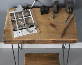 Salvaged Urban Wood Architect Desk  Reclaimed Barn Wood and Hairpin Legs