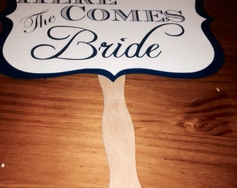 Romantic vintage style wedding Sign, Here Comes the Bride or Just Married or Thank You