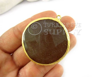 42mm Khaki Pendant, Round Faceted Jade Pendant, Gemstone Pendant, Gold Plated Bezel, Turkish Pendant, Turkish Jewelry