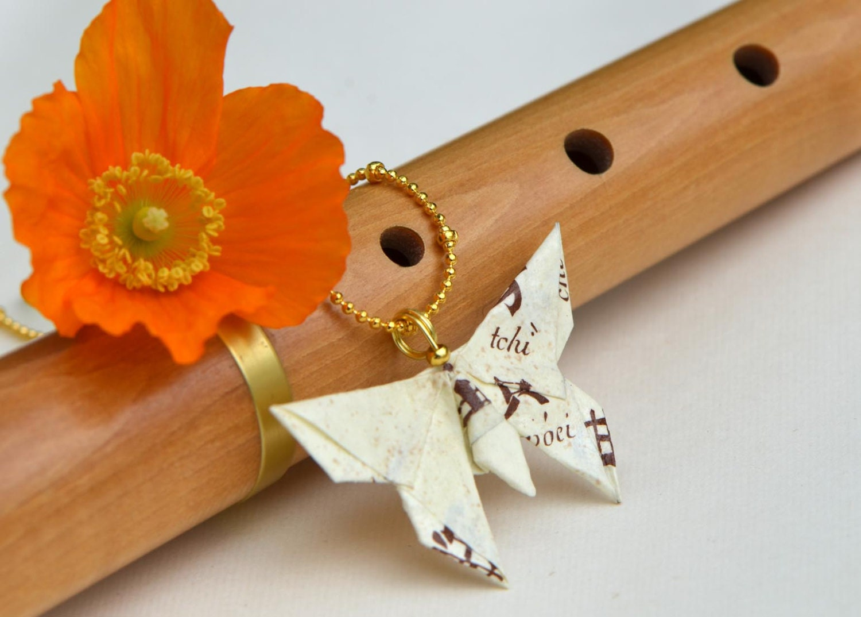 Origami butterfly pendant Chinese writing hieroglyph script - photo#44