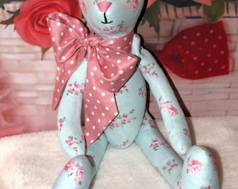 """Tilda doll/toy Bear in style Shabby chic. Blue color. Height 14.6 """" (37 cm) Cloth Doll/Toy. Handmade"""