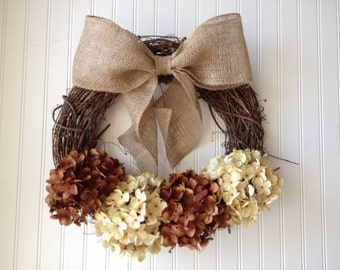 Chocolate & cream hydrangea wreath for fall. fall door wreath. fall decor. autumn wreath. wreath for door.