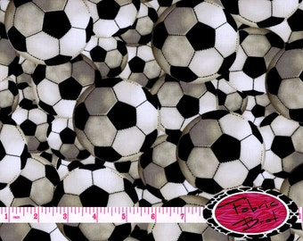 SOCCER BALL Fabric by the Yard Half Yard or Fat Quarter SOCCER Fabric Sports Fabric Team Fabric 100% Cotton Quilting Apparel Fabric t6-30