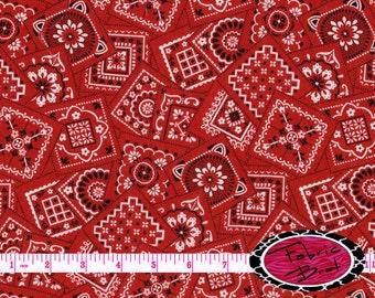 RED BANDANA Fabric by the Yard Half Yard or Fat Quarter Modern RED Bandanna Fabric Western Apparel Quilting Fabric 100% Cotton Fabric w5-18