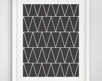 Geometric Print, Black and White, Thin Lines and Triangles, Aztec Print, Geometric Wall Art, Tribal Art