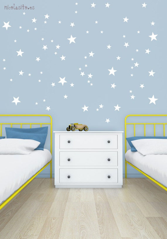 White little stars wall decal vinyl sticker little white for Stickers de pared infantiles